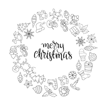 メリークリスマスとハッピーニューイヤーの背景とアイコン。