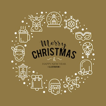 Иллюстрация с рождественские иконки. современный модный дизайн.