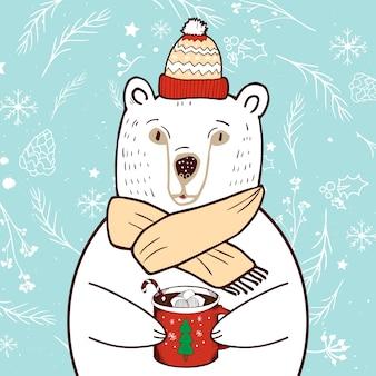 Белый медведь в красной шляпе. поздравительная открытка с рождеством и новым годом.