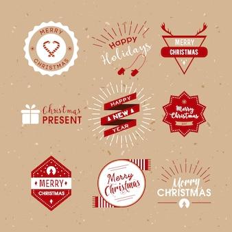 Рождественские этикетки ретро стиль.