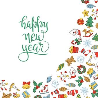 メリークリスマスと新年の背景に色のついたアイコンがあります。