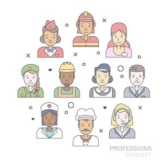 リニアフラットの人々の顔と職業のイラストレーション。