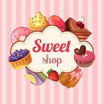 Иллюстрация сладкого магазина фона