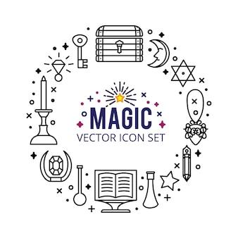 Набор волшебных значков. искрится волшебные огни. тайное чудо