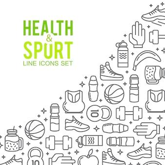Спортивные иконки. спортивная концепция, фон. иконы спортивные игры