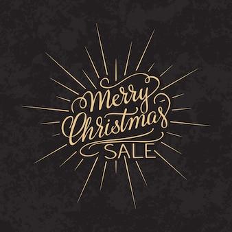 メリークリスマスセールテキスト書道レターデザインカードテンプレート。