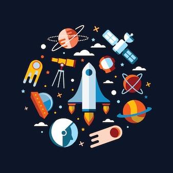 ヴィンテージスペースと宇宙飛行士の背景。