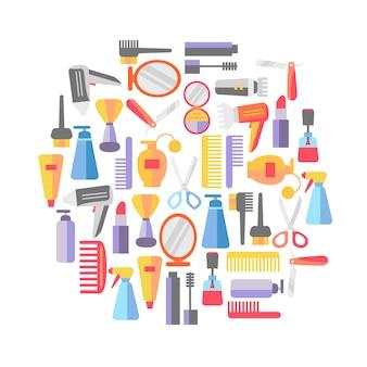 Салон красоты фон с визажистом и парикмахерские объекты.