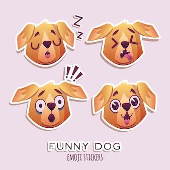 小さなペットの犬の犬の子犬襟の顔文字のコレクションのコレクション