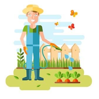ガーデニングや園芸、趣味用具、野菜箱、植物。