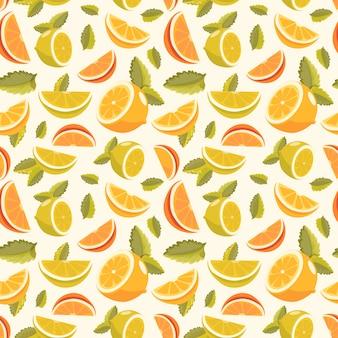 レモンとライムのレモネードシームレスパターン。レモネード緑のシームレスな背景。