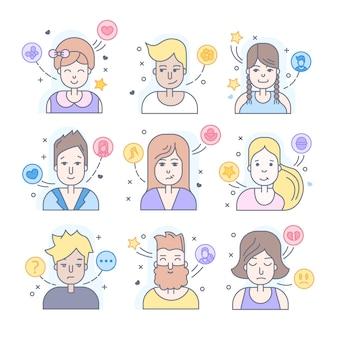 リニアフラットの人々は、アイコンセットに直面しています。ソーシャルメディアアバター、ユーザーピクチャー、プロフィール