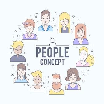 リニアフラットの人々はイラストに直面している。ソーシャルメディアアバター、ユーザーピクチャー、プロフィール