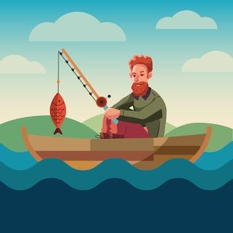 釣りの概念のバナー。フラットデザイン。水の近くのレクリエーション釣りホビークラブの場合