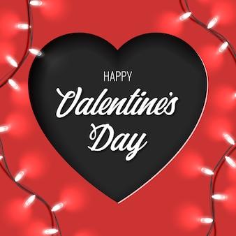 紙で幸せなバレンタインカードは、赤の背景にハート形と明るい花輪をカットしました。