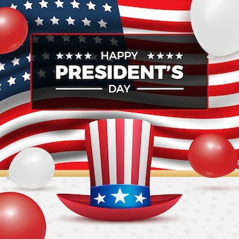 アンクルサムの帽子、気球、アメリカ人の休日のお祝いのための米国旗との幸せな大統領の日。アメリカの大統領の日と独立記念日に適しています。
