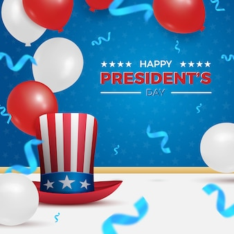 アメリカ人の休日のお祝いのためのアンクルサムの帽子と気球で幸せな大統領の日。アメリカの大統領の日と独立記念日に適しています。