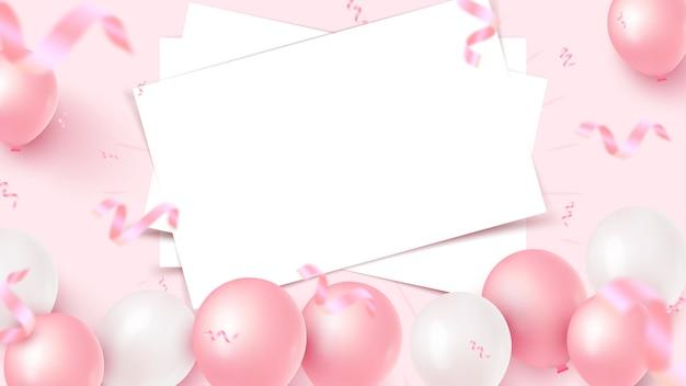 Праздничный дизайн баннера с белыми листами, розовые и белые воздушные шарики, падающие фольги конфетти на розовом фоне. женский день, день матери, день рождения, юбилей, свадебный шаблон. иллюстрация
