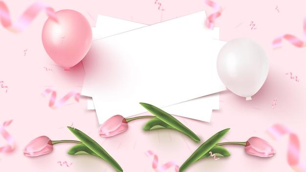 Праздник баннер дизайн с белыми листами, розовые и белые шары, падающие фольги конфетти и тюльпаны на розовом фоне. женский день, день матери, день рождения, юбилей шаблон. иллюстрация