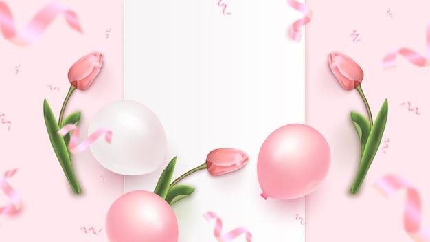 Праздник дизайн баннера с белой рамкой, розовые и белые воздушные шары, падающие фольги конфетти и тюльпаны на розовом фоне. женский день, день матери, день рождения, юбилей шаблон. иллюстрация
