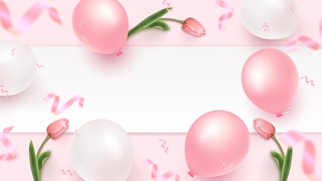 Праздничный дизайн баннера с белой рамкой, розовые и белые воздушные шарики, падающие фольги конфетти и тюльпаны на розовом фоне. женский день, день матери, день рождения, юбилей шаблон. иллюстрация