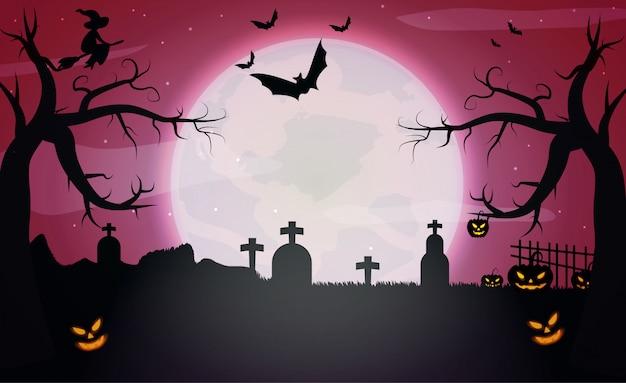 Тыквы и темный замок на красном фоне луны хэллоуин.