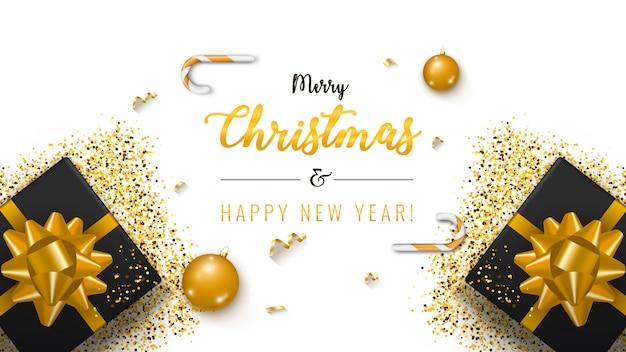 クリスマスバナー。ギフトボックスと背景クリスマスデザイン