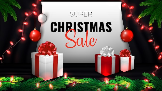 スーパークリスマスセールのバナー。