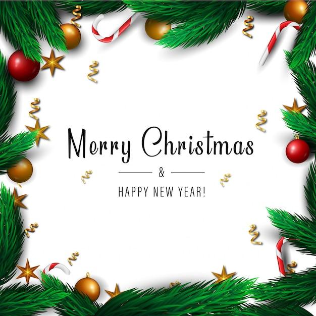 冬の休日のメリークリスマスと新年あけましておめでとうございますフレームの背景。