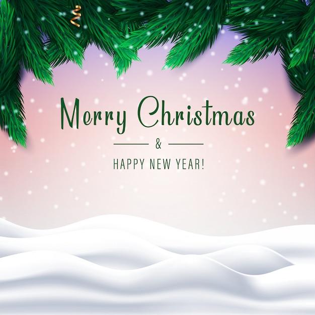 雪に覆われた冬の風景に松の木の枝とメリークリスマスと新年あけましておめでとうございます。
