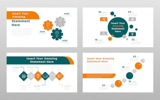 オレンジグリーンラウンド色のビジネスコンセプトパワーポイントプレゼンテーションページテンプレート