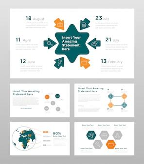 緑オレンジとグレー色のビジネスコンセプトパワーポイントプレゼンテーションページテンプレート