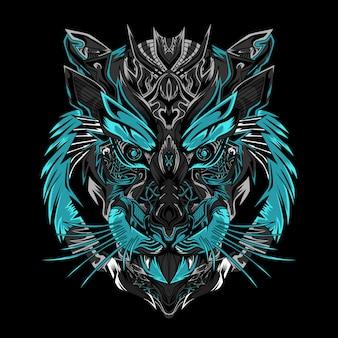 Черная иллюстрация воина тигра