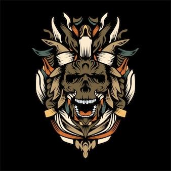 Король черепов из тьмы векторная иллюстрация