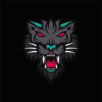 Черный тигр логотип вектор