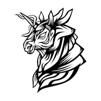 Единорог монстр векторная иллюстрация