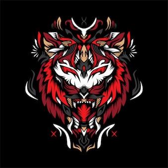 Красный тигр векторная иллюстрация