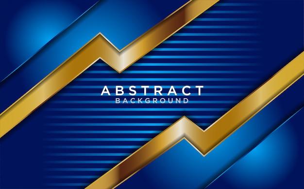 Абстрактный синий фон с золотыми линиями