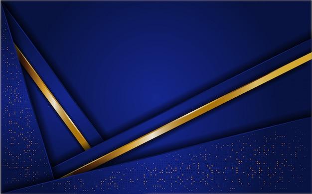 キラキラとラインゴールドと抽象的な青い背景
