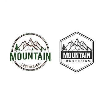山の図、屋外の冒険のロゴデザインのインスピレーション