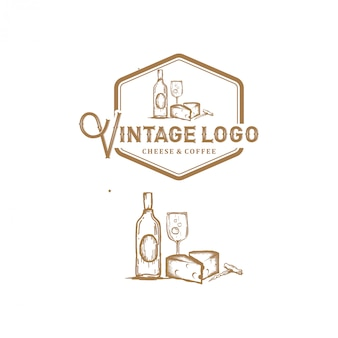 ビンテージのロゴ、チーズ、コーヒー、ラインアートのシンプルなスケッチスタイル