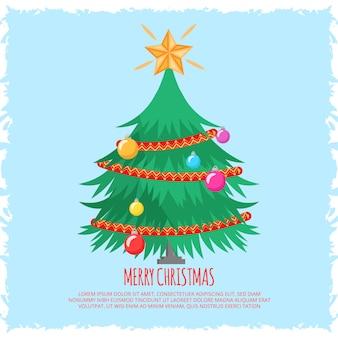 フラットなクリスマスツリーの背景