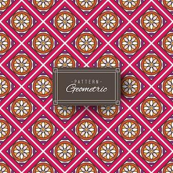 幾何学と花のカラフルなパターン