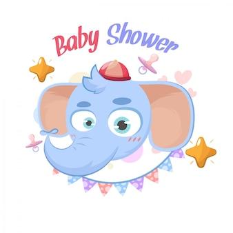 ベビーシャワー象のご挨拶