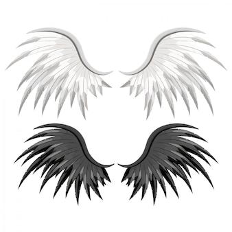 広がるワシの鳥や天使の羽のペア