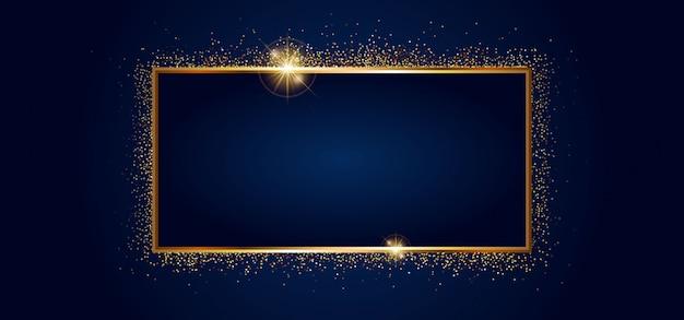黒い旗に分離された黄金の輝きと黄金の輝くフレーム