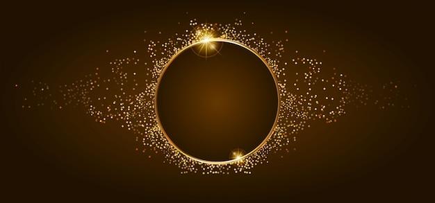 黄金の輝きと茶色のバナーに光沢のある黄金のフレーム