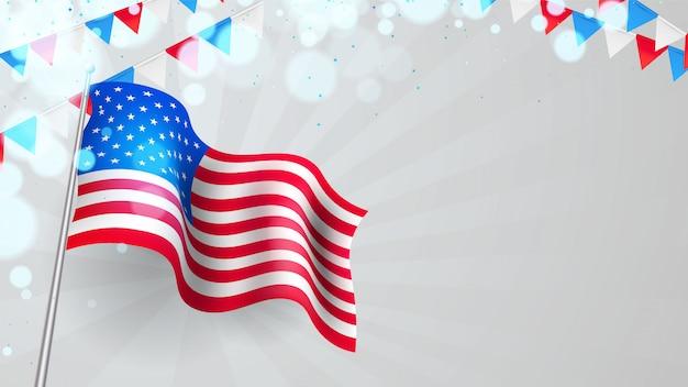 波状の旗とペナントとアメリカ大統領の日の背景