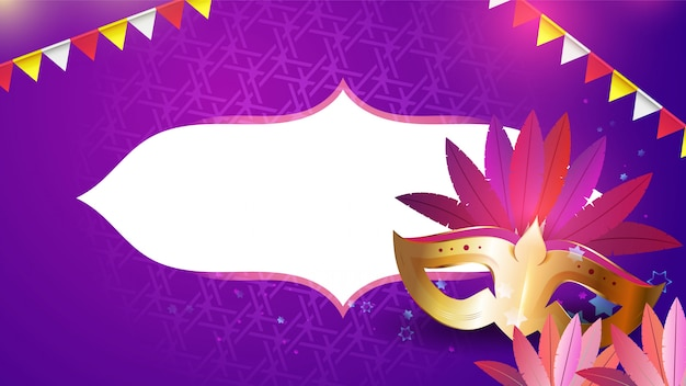 Карнавальная маска, гирлянды и цветы