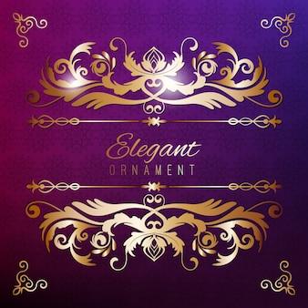 ヴィンテージ招待状ゴールデンフレームと紫色の豪華な背景。デザインのためのテンプレート